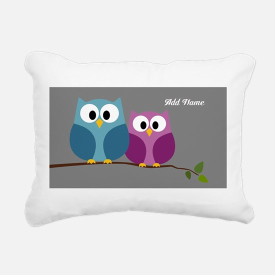 cute owls on branch Rectangular Canvas Pillow