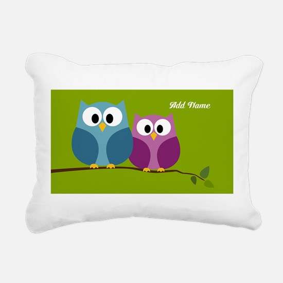 cute owls on branch green Rectangular Canvas Pillo