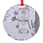 Girly Purple Vintage Collage Round Ornament