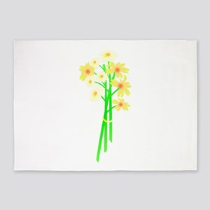 white flower bouquet 5'x7'Area Rug