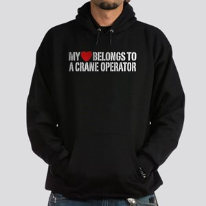 My Heart Belongs To A Crane Operator Hoodie (dark)