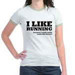 I Like Running and Dessert Jr. Ringer T-Shirt