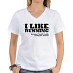 I Like Running and Dessert Women's V-Neck T-Shirt