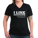 I Like Running and Dessert Women's V-Neck Dark T-S