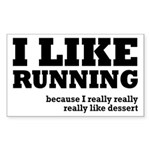 I Like Running and Dessert Sticker (Rectangle)