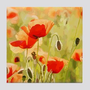 Field of Red Poppies Landscape Tile Coaster