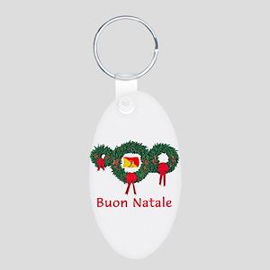 Sicily Christmas 2 Aluminum Oval Keychain