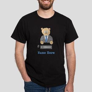 Bear at Desk. Custom Name. Dark T-Shirt
