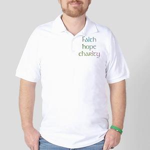Faith Hope Charity watercolor Golf Shirt
