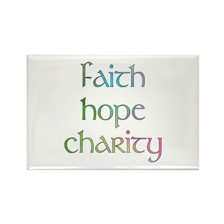 Faith Hope Charity watercolor Rectangle Magnet