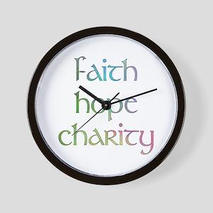 Faith Hope Charity watercolor Wall Clock