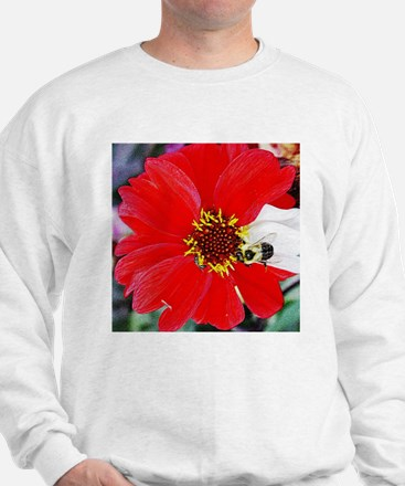 Bee on Red and White Flower Sweatshirt