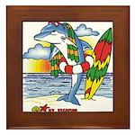 Dolphin Beach Framed Tile