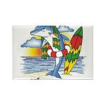 Dolphin Beach Rectangle Magnet