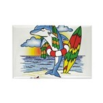 Dolphin Beach Rectangle Magnet (100 pack)