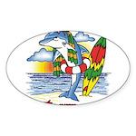 Dolphin Beach Oval Sticker