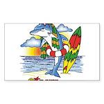 Dolphin Beach Rectangle Sticker
