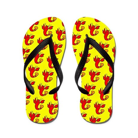 Red Yellow Lobster Boy Designer Flip Flops