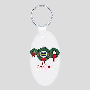 Sweden Christmas 2 Aluminum Oval Keychain