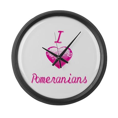 I Love/Heart Pomeranians Large Wall Clock