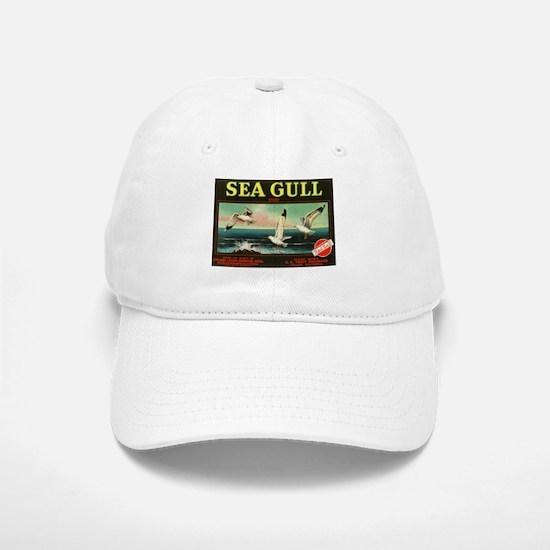 Sea Gull Vintage Crate Label Art Baseball Baseball Cap