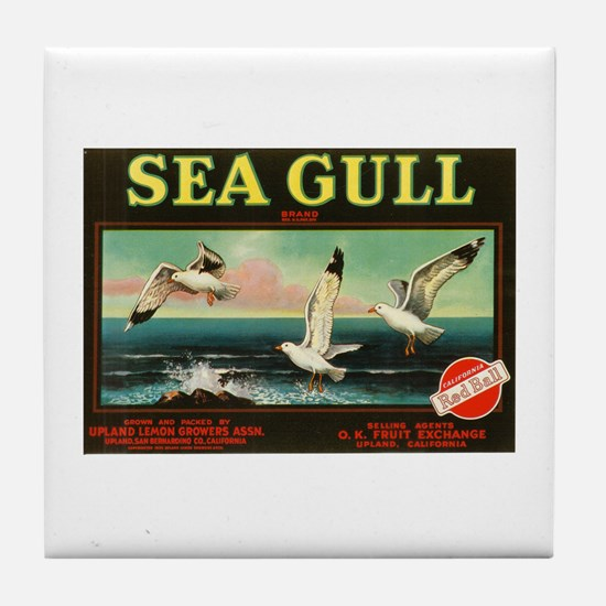 Seagull Vintage Crate Label Art Tile Coaster