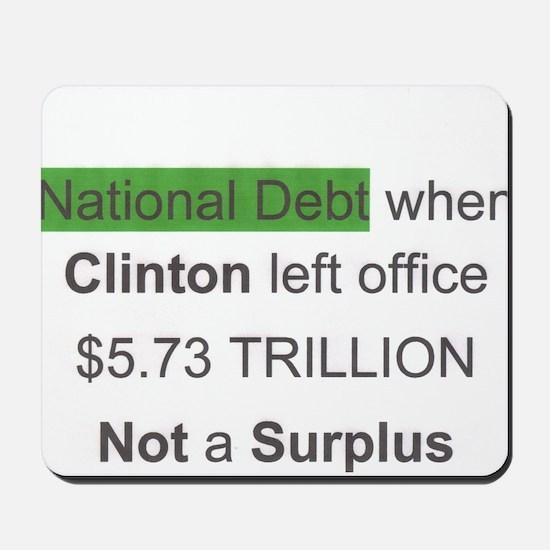 national debt when clinton left office Mousepad