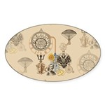 Steampunk Russo Victorian Time Cont Sticker (Oval)