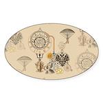 Steampunk Russo Victorian Tim Sticker (Oval 50 pk)