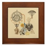 Steampunk Russo Victorian Time Contrap Framed Tile