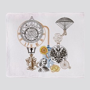Steampunk Russo Victorian Time Contr Throw Blanket