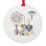 Steampunk Russo Victorian Time Cont Round Ornament