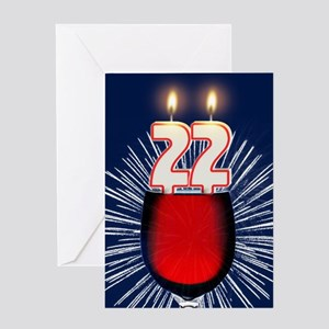 22nd Birthday Wine And Candles Greeting C