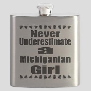 Never Underestimate Michigan Girl Designs Flask