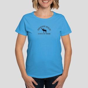 Pemaquid Beach ME - Moose Design. Women's Dark T-S