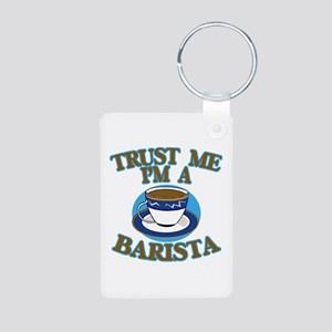 Trust Me I'm a Barista Aluminum Photo Keychain