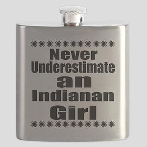 Never Underestimate Indianan Girl Designs Flask
