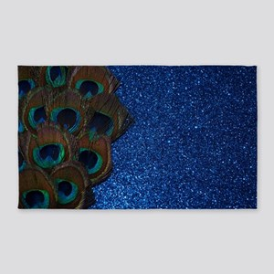Glittery Blue peacock Feather 3'x5' Area Rug