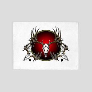 mule deer skulls 5'x7'Area Rug