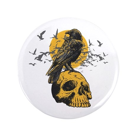 """Skull and Crow 3.5"""" Button"""