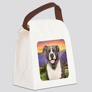 Pit Bull Meadow Canvas Lunch Bag