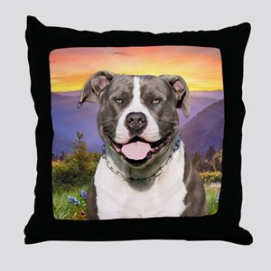 Pit Bull Meadow Throw Pillow