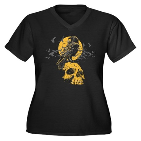 Skull and Crow Women's Plus Size V-Neck Dark T-Shi