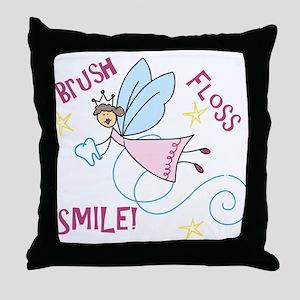 Brush Floss Smile Throw Pillow