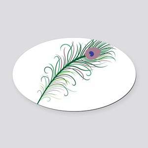 Green Peacock Feather Oval Car Magnet