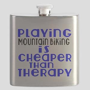 Mountain Biking Is Cheaper Than Therapy Flask