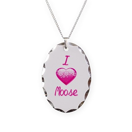 I Love/Heart Moose Necklace Oval Charm