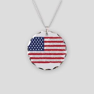 Pledge American flag color G Necklace Circle Charm