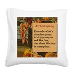 At Thanksgiving Poem Square Canvas Pillow
