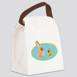 bunny + hamster blue Canvas Lunch Bag